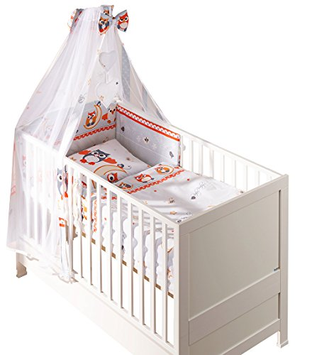 Belivin - Belivin® Baby & Juniorbett Milano inkl. Bettwäsche komplett Set - 140x70cm, 07 Eulen grau/weiss