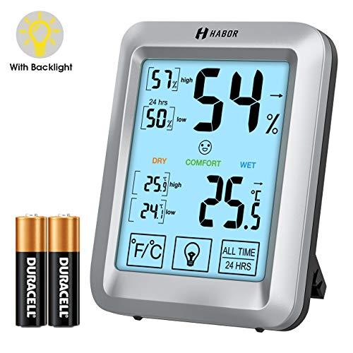 Habor Raum Thermometer, Thermo-Hygrometer mit Hintergrundbeleuchtung, Touchscreen Luftfeuchtigkeitsmessgerät Innen, Hygro-Thermometer Feuchtigkeit mit LCD-Anzeige für Babyraum, Wohnzimmer, Büro, usw
