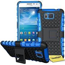 Samsung Galaxy Alpha Funda, FoneExpert® Heavy Duty silicona híbrida con soporte Cáscara de Cubierta Protectora de Doble Capa Funda Caso para Samsung Galaxy Alpha SM-G850 G850F + Protector Pantalla (Azul)
