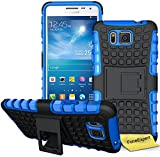 Samsung Galaxy Alpha Handy Tasche, FoneExpert® Hülle Abdeckung Cover schutzhülle Tough Strong Rugged Shock Proof Heavy Duty Case für Samsung Galaxy Alpha + Displayschutzfolie (Blau)