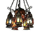 Marokko Eisen Pendelleuchten Bunte Laterne Dekoration Handgefertigte Glastöne 5-lichter Mittelmeer Deckenleuchte Für Restaurant Bar Clubhaus Wohnzimmer Lobby Kronleuchter