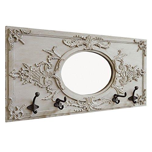 Loberon Spiegel Béatrice, MDF/Polyresin/Spiegelglas, H/B/T ca. 37/71 / 10 cm, antikgrau