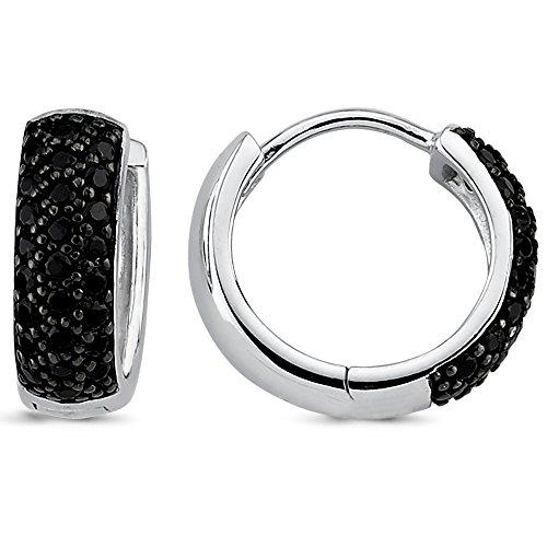 Vinani Klapp-Creolen klein Zirkonia schwarz glänzend abgerundet Sterling Silber 925 Ohrringe 2CZS