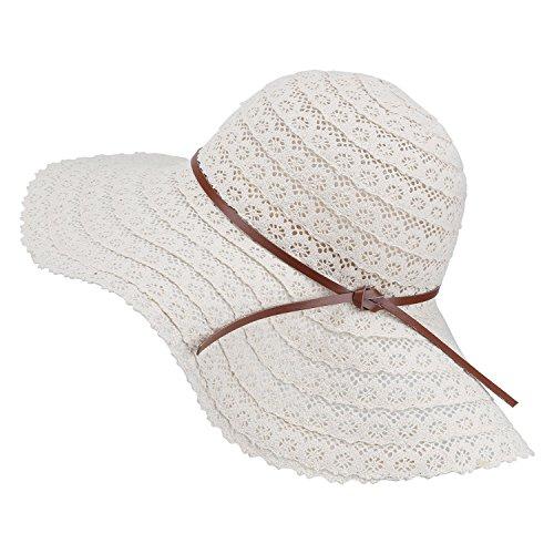Damen Faltbarer Sonnenhut UPF Flexible Sommer Strand Strohhut mit Sonnenschutz breite Krempe Damen Mode Hut aus Baumwolle, Beige, Einheitsgröße