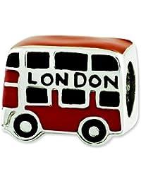 Plata de ley reflexiones de esmalte de autobús de Londres del encanto del grano - JewelryWeb