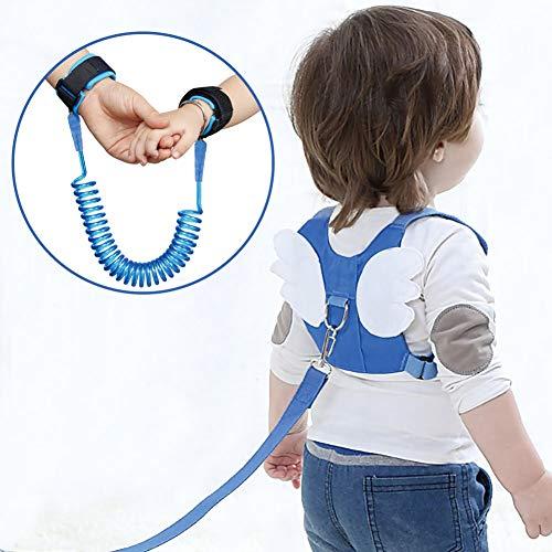 OFUN Imbracatura di Sicurezza per Bambini,Cintura anti-perso da polso Cintura da bambino Sicurezza da corsa Imbracatura con guinzaglio Childs Kids Assistant Strap Angel Wings Zaino da viaggio (1 pacco, blu)