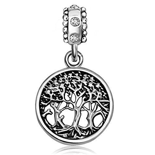 Kunbead gioielli albero della vita 2colori perline per braccialetti con charm pendenti e rame, colore: white, cod. ukkunc-03904