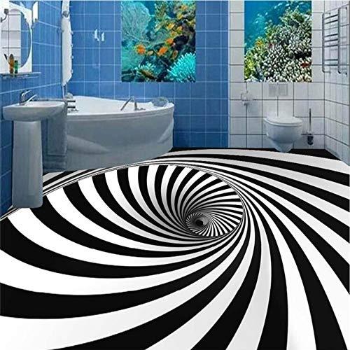 Zhcmy 3D-Schwarzweiß-Whirlpool-Illusion Stereo-Boden Tapetenfresken, 400 * 280Cm