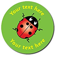 Personalised Ladybird Green Stickers 37 Millimetres x 35 - Primary Teaching Services