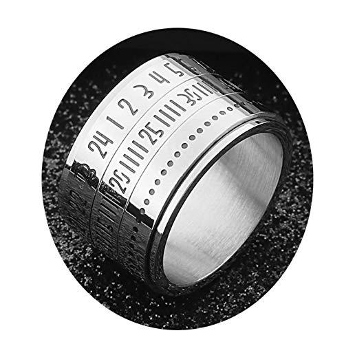 Bishilin Edelstahl Frauen Männer Ring Edelstahlring Silber mit Römischen Nummern Zeit Herren Damenring Freundschaftsring Größe 57 (18.1)