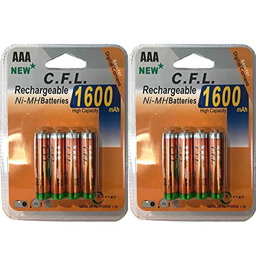 Lote de 8Pilas Pilas baterías AAA LR031.2V Ni-MH batería Recargable Mignon 1600mAh | sustituye a los Pilas AAA 1.5V | AAA LR03LR3R03R3H03H33A Distancia |jouet lámpara Coche etc.