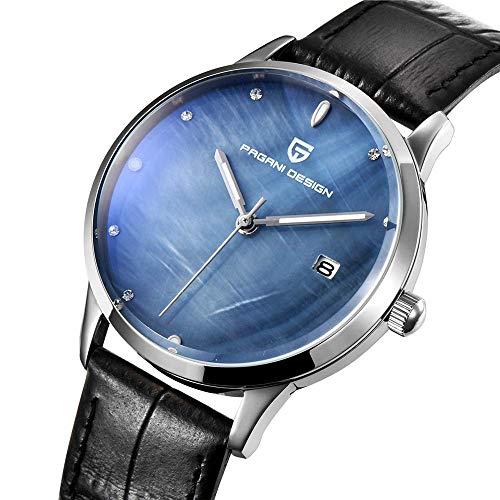 Reloj de Pulsera para Mujer con diseño de Toro Negro y Diamantes de 12 mm, Correa de Piel de 39 mm, Resistente al Agua, 3 ATM, para Estudiantes, Damas y Mujeres