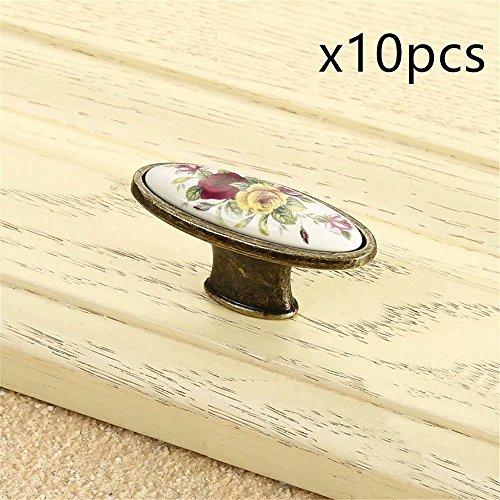 FBSHOP(TM) 10pcs Vintage Keramik Schrank Schublade Möbelgriffe Küchen schrank Türknöpfe, Schlafzimmer Möbel Schrank Knöpfe und zieht (Schlafzimmer Chrome Kommode)