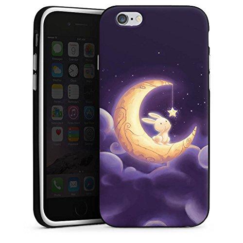 Apple iPhone X Silikon Hülle Case Schutzhülle Häschen Mond Himmel Silikon Case schwarz / weiß