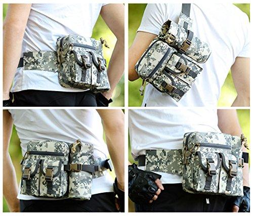 UEK Hüfttasche Multi-Function Gürteltasche Wasserabweisende Bauchtasche Flache Taille Tasche mit Flaschenhalter zum Sport und Reisen D