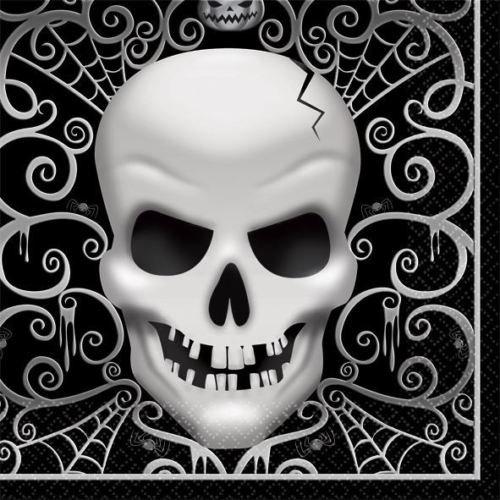 16 Servietten * TOTENKOPF * für Halloween oder eine schaurige Motto-Party // Party Napkins Motto Grusel Oktober Fright Night Totenköpfe Horror Schrecken
