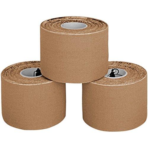 3 x Kinesiologie Tape 5 cm x 5 m in verschiedenen Farben von Alpidex, Farbe:beige