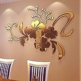 Berrose-3D Spiegel Blumenkunst Removable Wandaufkleber Acryl Wandbild Aufkleber Home Room Decor-3D Wandtattoo, Wandsticker für Decor Schlafzimmer Wohnzimmer Wanddekoration