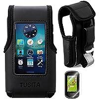 Tusita, der Schutzhülle mit Gürtelclip und Displayschutzfolie für Garmin Oregon 600/600T/650/650T/700/750/750T Leder Cover (schwarz)