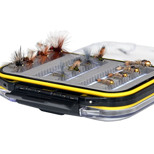 Outdoor Planet Double Side Wasserdicht, Fly Box + sortiert Fliegenfischen Köder 15 Stück Fly Lure, Pocket fly box + 12Pieces Must-have flies -