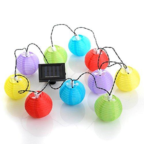 Guirlande solaire à led 10 lampions de couleurs
