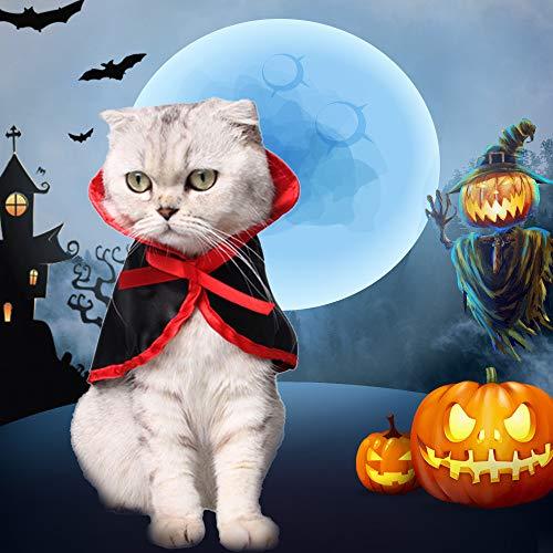 NIBESSER Katze Kostüm Katzen Halloween Mantel Cosplay Vampir Umhang für Katzen und kleine Hunde, Haustier Halloween Kostüm