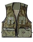Herren Outdoor Weste mit vielen Taschen Atmungsaktiv Fishing Weste Ärmellos Jacke Groß Größe Armee-Grün 3XL
