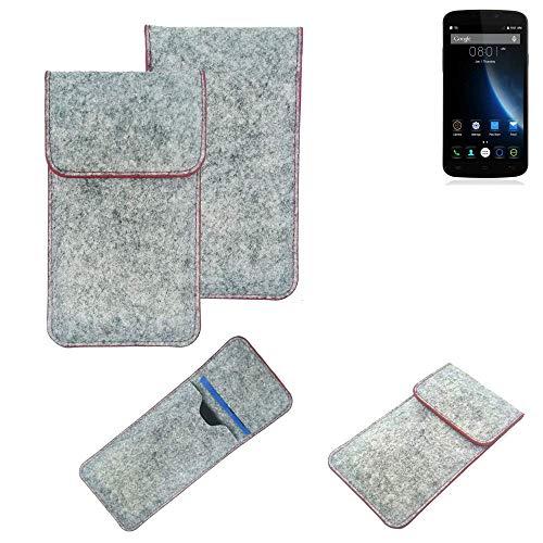 K-S-Trade® Filz Schutz Hülle Für -Doogee X6S- Schutzhülle Filztasche Pouch Tasche Case Sleeve Handyhülle Filzhülle Hellgrau Roter Rand