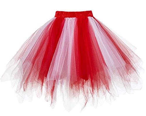 MuseverBrand 50er Vintage Ballet Blase Firt Tulle Petticoat Puffy Tutu Red/White Large/X-Large