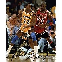 THEPRINTSHOP Edición limitada Magic Johnson Michael Jordan baloncesto autografiada + certificado de autenticidad impreso