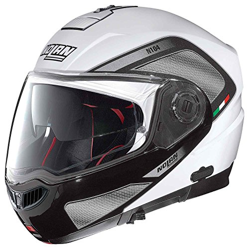 Nolan N104 Absolute Tech moto Modular policarbonato N-COM – Casco, color blanco metal