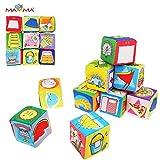 Baby Kleinkindspielzeug 9 Stücke Würfel Rasseln Stoffspielzeug Tiere Spielwürfel Frühkindliche Bildung,B