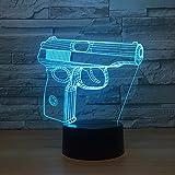 Jinson well 3D pistole gewehr Lampe optische Illusion Nachtlicht, 7 Farbwechsel Touch Switch Tisch Schreibtisch Dekoration Lampen perfekte Weihnachtsgeschenk mit Acryl Flat ABS Base USB Kabel kreatives Spielzeug