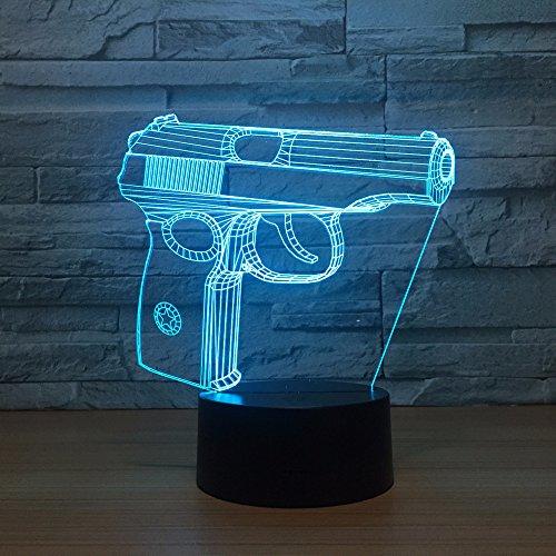 Jinson well 3D pistole gewehr Lampe optische Illusion Nachtlicht, 7 Farbwechsel Tisch Schreibtisch Dekoration Lampen perfekte Weihnachtsgeschenk mit Acryl Flat ABS Base USB Spielzeug -