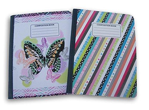 Butterfly und Diagonale Streifen gemustert breit liniert 100Blatt Zusammensetzung Notebooks-(Pack von 2) (Bulk Notebooks In Zusammensetzung)