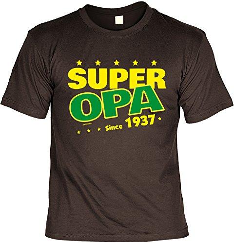 T-Shirt zum Geburtstag: Super Opa since 1937 - Tolle Geschenkidee - Baujahr 1937 - Farbe: braun Braun