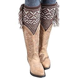 Zilcremo La Mujer De Invierno De Borlas De Bohemia Rodilla Tejida A Crochet Navidad Bota Puños Acolchados Leg Warmers 2 One Size