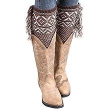La Mujer De Invierno De Borlas De Bohemia Rodilla Tejida A Crochet Navidad Bota Puños Acolchados Leg Warmers
