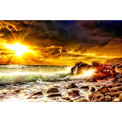 mälde mit Sonnenuntergang und Landschaft, hochwertige Diamant-Malerei, Kunst zum Basteln ()