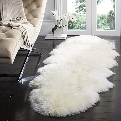 CUSHION Lange Wolle Haufen Schaffell Teppich Rein Weiß Luxuriös Lammfell Teppich Original Schaf Lockig Pelz Shag Decke Zum Sofa-Pads,2'x6'(60 * 180cm) -