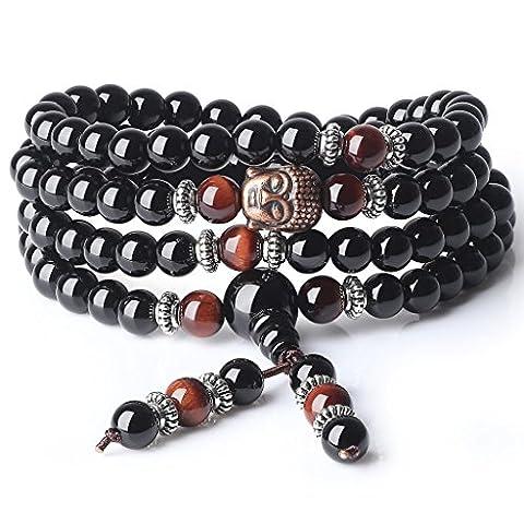 COAI® 6mm Black Onyx Red Tiger Eye 108 Beads Mala Bracelace Necklace for Yoga Meditation