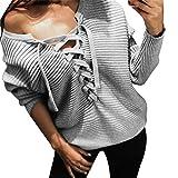 ♡ღ Femmes Bandage T-shirt, Ularmo Décontractée Manche longue Arrêtez-vous Hauts ღ♡