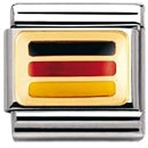 Nomination Composable Classic Flagge Europa Edelstahl, Email und 18K-Gold (Deutschland) 030234