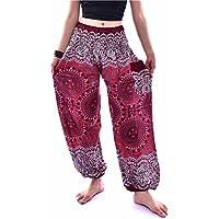 VENMO Hombres mujeres tailandesas pantalones de harén Festival hippy delantal hippie alta cintura pantalones de yoga (vino, Tamaño libre)