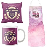 YaYa Cafe Mothers Day Gifts For Mom, Best Mom Of The World Hamper For Mom Set Of 4 - Cushion Cover, Mug With Coaster, Apron