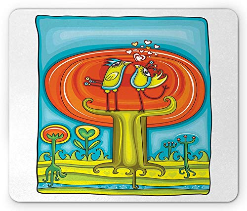 Doodle Mouse Pad, Abstract Birds Perching on an Autumn Tree Cartoon Flora and Fauna, Standard Size Rectangle Non-Slip Rubber Mousepad, Green Blue and Burnt Orange Ut Burnt Orange