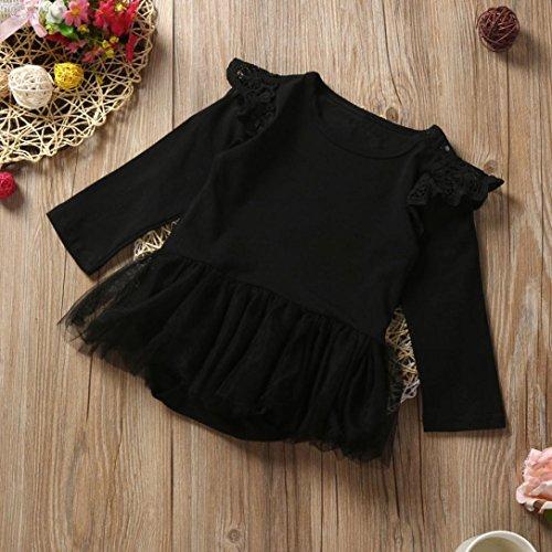 Saingace Bébé Fille Tutu Romper Dentelle Combinaison Bébé vêtements Outfits (Label Size:80(6-12mois), Rose) Noir
