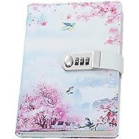 Lirener Creativo A5 Personal Notebook planificador Diario Organizador(Pájaro, Flor, Mariposa, Árboles), Contraseña Bloc de Notas con Cerradura de combinación, Soporte para bolígrafo, 215x150mm