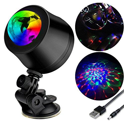 Car Disco Light, DS-Mart Mini USB LED Disco DJ Stadiums Lichter Regular Color Rotierender Strobe-Effekt-wieder aufladbares Glitter-Ball-Licht für Karaoke Familien Auto Weihnachtshalloween Dekor