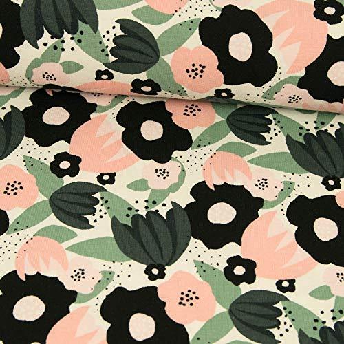 Tela Werning de algodón, diseño de Flores, Color Rosa y Negro, para Mujeres, Precio válido para 0,5 Metros